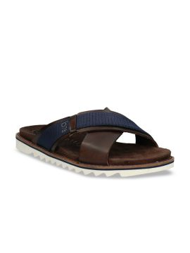 Brown & Navy Blue Leather Comfort Sandals