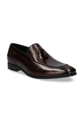 Brown Solid Leather Formal Slip-Ons