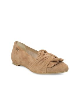 Beige Solid Leather Ballerinas