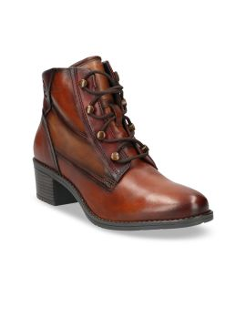 Brown Leather High Top Formal Boots