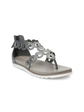 Grey Solid Synthetic T-Strap Flats