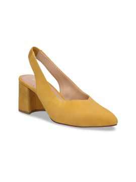 Yellow Solid Suede Pumps