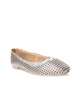 Silver-Toned Woven Design Leather Ballerinas