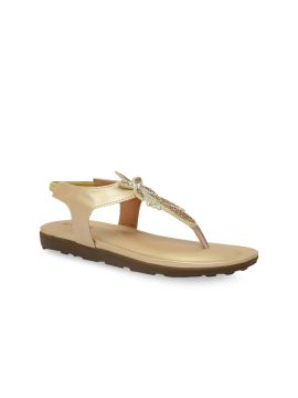 Gold-Toned Solid T-Strap Flats