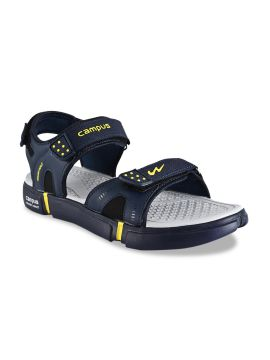 Navy Blue & Yellow Solid Sports Sandals