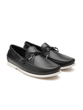 Black Solid Boat Shoes