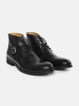 Black Solid Leather Mid-Top Flat Boots