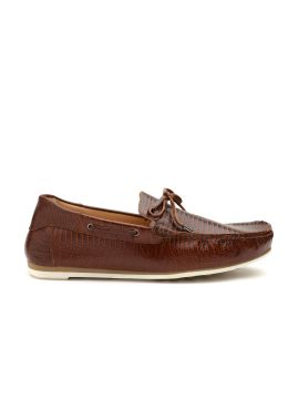 Brown Leather Textured Boat Shoes