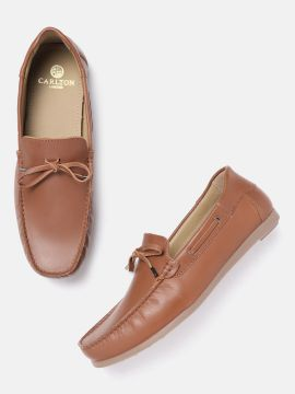 Brown Solid Leather Boat Shoes