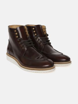 Burgundy Solid Leather Mid-Top Flat Boots