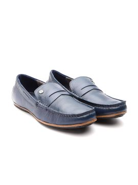 Navy Blue Solid Driving Shoes