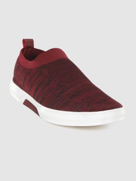 Maroon & Black Self-Striped Textile Running Shoes