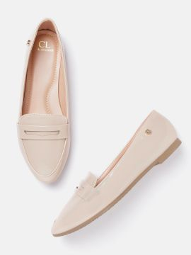 Beige Solid Penny Loafers