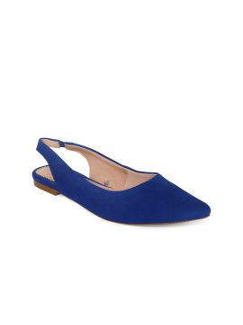 Blue Solid Leather Flats