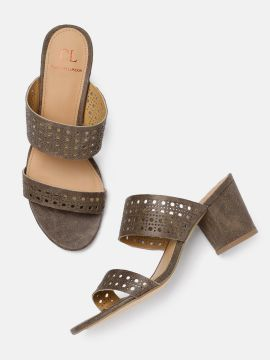 Brown Cut Work Detailed Heels