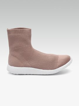 Dusty Pink Woven Design Mid-Top Slip-On Sneakers