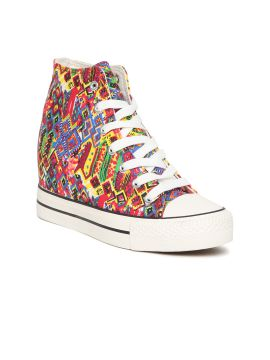 Multicoloured Printed Canvas Mid-Top Heeled Sneakers