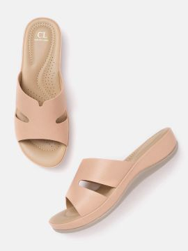 Peach-Coloured Solid Open Toe Flats