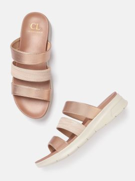 Rose Gold-Toned Solid Open Toe Flats