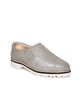 Silver-Toned Shimmer Slip-On Sneakers