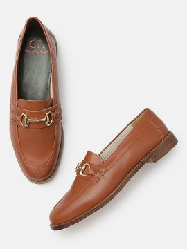 Tan Brown Solid Formal Loafers