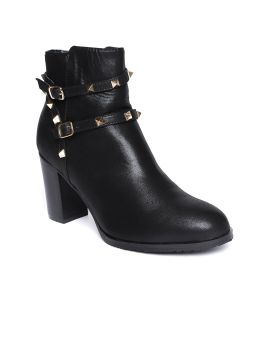 Black Solid Sheen Effect Heeled Boots