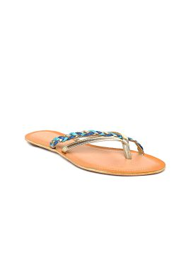 Blue & Gold-Toned Braided One Toe Flats
