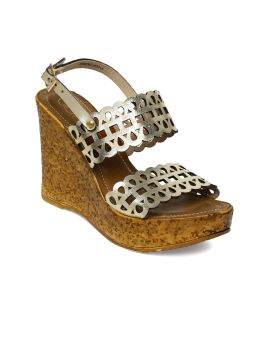 Gold-Toned Open-Toe Wedges