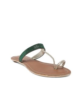 Green & Gold-Toned Embellished One Toe Flats