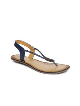 Navy Blue Solid Leather Open Toe Flats
