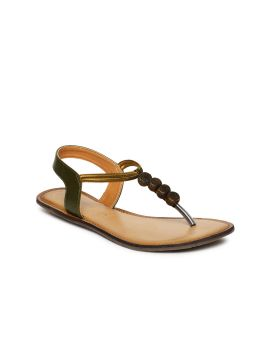 Olive Green Solid Leather T-strap Flats