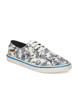 Off-White & Blue Printed Sneakers