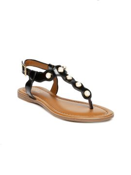 Black Solid Synthetic Open Toe Flats