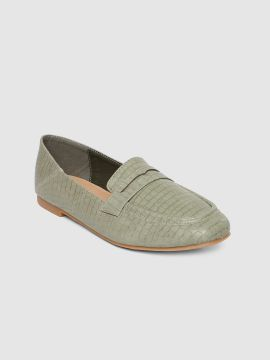 Green Textured Loafers