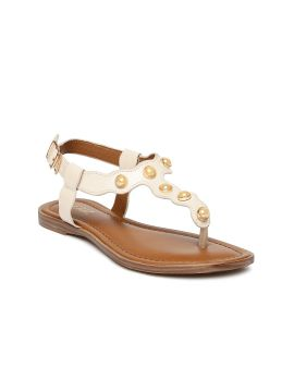 Peach-Coloured Solid Synthetic T-Strap Flats