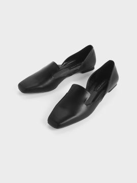 Black Solid PU Ballerinas
