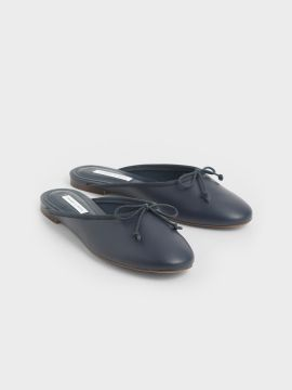 Blue Solid Mules