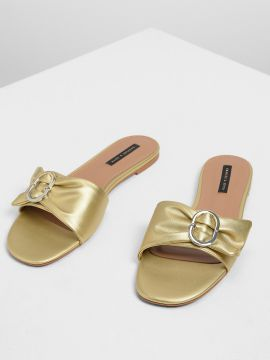 Gold-Toned Solid PU Open Toe Flats