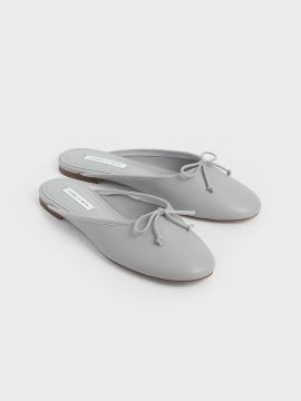 Grey Solid Mules