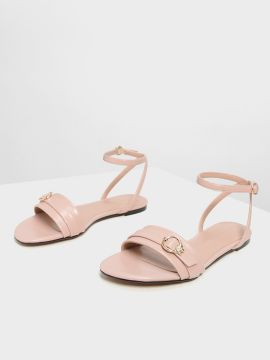 Peach-Coloured Solid PU Open Toe Flats