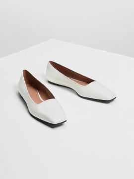 White Solid PU Ballerinas