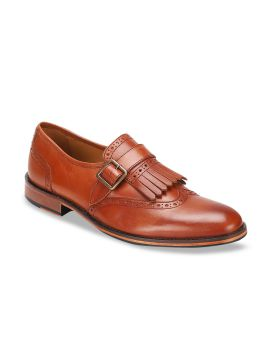Brown Solid Leather Formal Monks