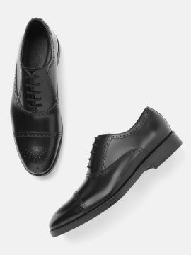 Black Leather Solid Formal Brogues