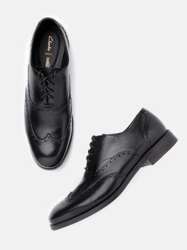 Black Solid Leather Formal Brogues