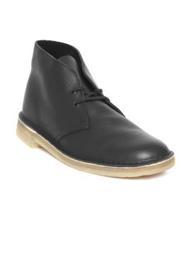 Black Solid Leather Mid-Top Derbys