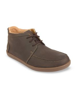 Brown Solid Leather Mid-Top Derbys