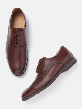 Coffee Brown Solid Leather Formal Derbys