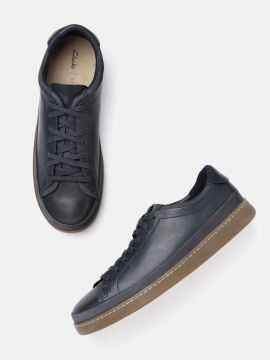Navy Blue Solid Leather Sneakers