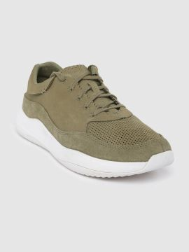 Olive Green Perforated Nubuck Sneakers