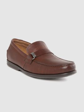 by Men Brown Leather Loafers